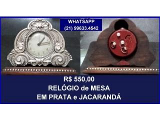 . Relógio de mesa antigo.Prata e Jacaranda