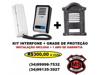 Kit Interfone + Grade de Proteção anti-furto