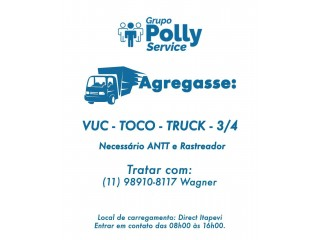 Agraga-se URGENTE Truck - Toco - 3/4 e VUC - Vaga fixa