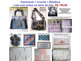 Patchwork / Crochê / Grande Quantidade de Retalhos / Lote - R$ 150,00