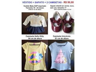 Vestido Gap, Sapato Verniz Numero 17 e 2 Camisetas / Infantil - R$ 50,00
