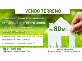 Vendo TERRENO CAMPINHO PROXIMO VALQUEIRE 80 MIL