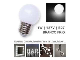 10 Lâmpada Led Bolinha 1w 127v E27 Branco Frio (penteadeira)