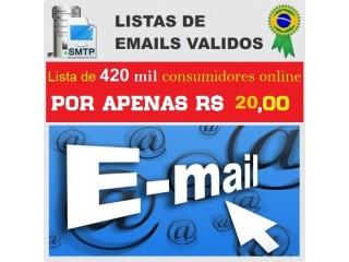 Lista de E-mails ativos 420 mil e-mails de compradores por R$ 20,00