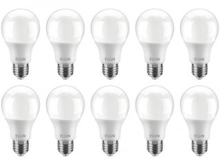 Kit Lâmpadas LED 10 Unidades Branca E27 9W - 6500K Elgin Bulbo A60