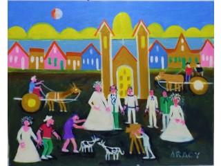 Aracy tema casamento no sitio medida 50x40 acrilica sobre tela